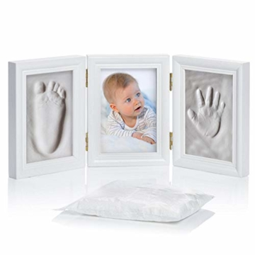 Goods & Gadgets Baby Bilderrahmen Gipsabdruck-Set - Fotorahmen Gips für Hand-Abdruck Fuß-Abdruck & Fotos; 3-TLG weiß - 5