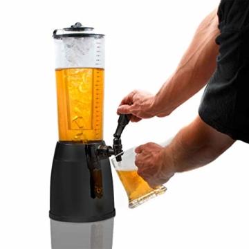 GOODS+GADGETS 4,0L Biersäule Zapfsäule Kult Biertower Trinksäule Getränkespender Getränkesäule mit 1,3L Eiskühlung - 2