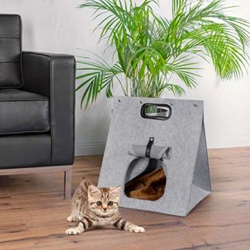 GOODS+GADGETS Haustier-Zelt, Hunde-Zelt Katzen-Zelt Hunde-Hütte aus Filz, Tipi Katzenhöhle Hundehöhle mit Decke für Katze & Hund; Haustiertipi und Körbchen - 3