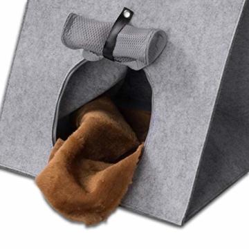 GOODS+GADGETS Haustier-Zelt, Hunde-Zelt Katzen-Zelt Hunde-Hütte aus Filz, Tipi Katzenhöhle Hundehöhle mit Decke für Katze & Hund; Haustiertipi und Körbchen - 4