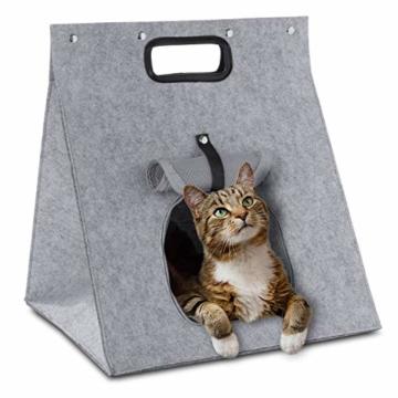 GOODS+GADGETS Haustier-Zelt, Hunde-Zelt Katzen-Zelt Hunde-Hütte aus Filz, Tipi Katzenhöhle Hundehöhle mit Decke für Katze & Hund; Haustiertipi und Körbchen - 5