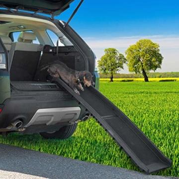 GOODS+GADGETS Hunderampe klappbar Hundetreppe Hunde Rampe Einstiegshilfe für Kofferraum 156 x 40 cm - 4