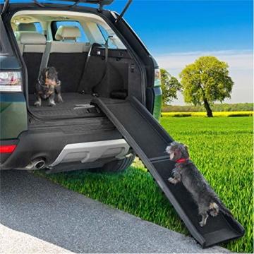 GOODS+GADGETS Hunderampe klappbar Hundetreppe Hunde Rampe Einstiegshilfe für Kofferraum 156 x 40 cm - 6