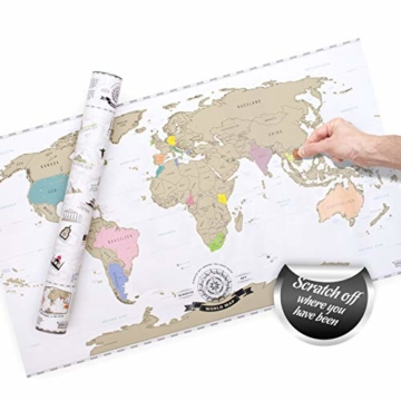 GOODS+GADGETS Scrape Off World Map Gold - XXL Weltkarte zum frei Rubbeln 82 x 45 cm - Rubbel Landkarte Deluxe Wandbild - 2