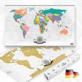 GOODS+GADGETS Scrape Off World Map Gold - XXL Weltkarte zum frei Rubbeln 82 x 45 cm - Rubbel Landkarte Deluxe Wandbild - 1