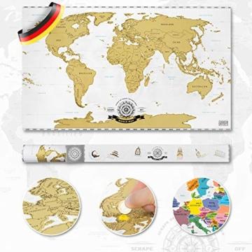 GOODS+GADGETS Scrape Off World Map Gold - XXL Weltkarte zum frei Rubbeln 82 x 45 cm - Rubbel Landkarte Deluxe Wandbild - 3
