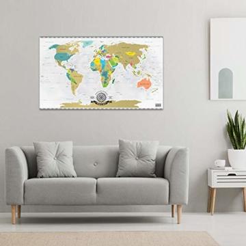 GOODS+GADGETS Scrape Off World Map Gold - XXL Weltkarte zum frei Rubbeln 82 x 45 cm - Rubbel Landkarte Deluxe Wandbild - 7
