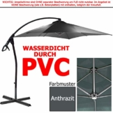habeig® Ampelschirm 2,5 x 2,5 m quadratisch WASSERDICHT durch PVC Schirm 250x250cm Sonnenschirm (Anthrazit #55) - 1