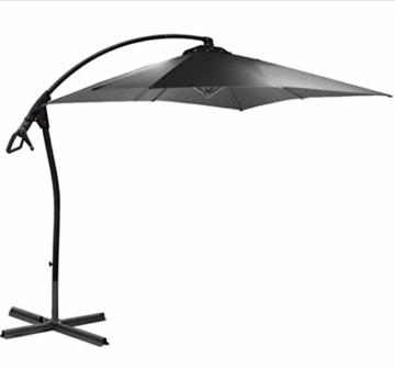 habeig® Ampelschirm 2,5 x 2,5 m quadratisch WASSERDICHT durch PVC Schirm 250x250cm Sonnenschirm (Anthrazit #55) - 6
