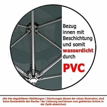 habeig® Ampelschirm 2,5 x 2,5 m quadratisch WASSERDICHT durch PVC Schirm 250x250cm Sonnenschirm (Anthrazit #55) - 7