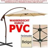 habeig WASSERDICHT Ampelschirm 3m Beige durch PVC Schirm 300cm Sonnenschirm - 1