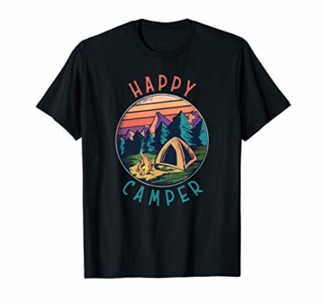 Happy Camper Camping Lagerfeuer Natur Zelt T-Shirt - 1
