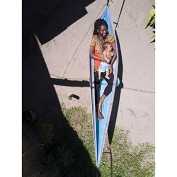 HAWK OUTDOORS Ultraleicht Hängematte Outdoor | Hänge Matte mit 2 Karabiner + 2 Seile | 200kg Traglast Reisehängematte | Hammock helloliv-dunkeloliv (hellgrau-hellblau) - 4