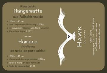 HAWK OUTDOORS Ultraleicht Hängematte Outdoor   Hänge Matte mit 2 Karabiner + 2 Seile   200kg Traglast Reisehängematte   Hammock helloliv-dunkeloliv (hellgrau-hellblau) - 6