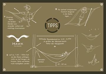 HAWK OUTDOORS Ultraleicht Hängematte Outdoor | Hänge Matte mit 2 Karabiner + 2 Seile | 200kg Traglast Reisehängematte | Hammock helloliv-dunkeloliv (hellgrau-hellblau) - 9