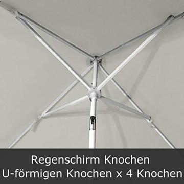 HENGMEI 140X185cm Sonnenschirm Marktschirm Strandschirm Gartenschirm Ampelschirm Balkonschirm Kurbelschirm Neigbar Terrassenschirm, Beige - 3