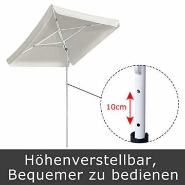HENGMEI 140X185cm Sonnenschirm Marktschirm Strandschirm Gartenschirm Ampelschirm Balkonschirm Kurbelschirm Neigbar Terrassenschirm, Beige - 4