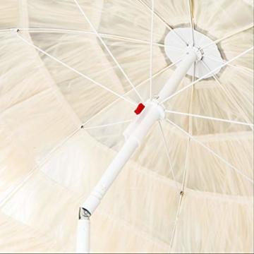 HI Hawaii Schirm Sonnenschirm Strandschirm Gartenschirm Balkonschirm 180 cm Beige - 3
