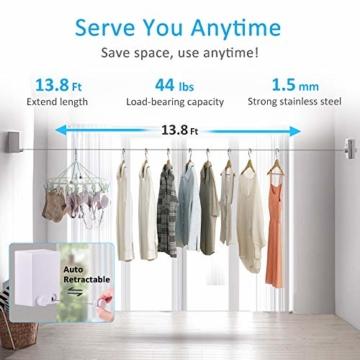 Hisome Wäscheleine für Kleidung, Einziehbare Wäscheleine aus Edelstahl Mit 4M TrockenfläChe Ausziehbare Stil für Geschäftsreisen Badezimmer Wäscheleine Verstellbares Seil für Drinnen und DraußEn - 3