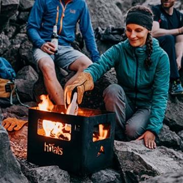 höfats - BEER BOX Feuerkorb - Getränkekiste, Feuerkorb, Grill und Hocker in einem - für Garten und Terrasse - Corten-Stahl - Rost-Optik - 3