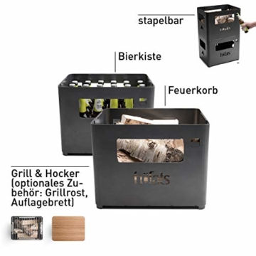höfats - BEER BOX Feuerkorb - Getränkekiste, Feuerkorb, Grill und Hocker in einem - für Garten und Terrasse - Corten-Stahl - Rost-Optik - 4