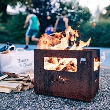 höfats - BEER BOX Feuerkorb - Getränkekiste, Feuerkorb, Grill und Hocker in einem - für Garten und Terrasse - Corten-Stahl - Rost-Optik - 7