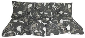 Hollywoodschaukel Comfort Schaukelauflage Kissen 3 Sitzer Blumen grau Weiss - 1