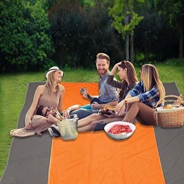 HOPAI Picknickdecke Stranddecke Wasserdicht 200x210cm/240x270cm Sandabweisende Campingdecke 4 Befestigung Ecken, Picknick/Strand Matte für den Strand, Campen, Wandern und Ausflüge (M:243 x 273 cm) - 6