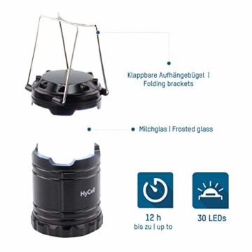 HyCell LED Campinglampe CL30 - Batteriebetriebene LED Campingleuchte - Handliche Leuchte mit blendfreier Ausleuchtung - Ideal für Festivals Camping Ausrüstung Zelten Lesen Garten oder Notfallleuchte - 2