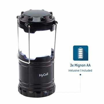 HyCell LED Campinglampe CL30 - Batteriebetriebene LED Campingleuchte - Handliche Leuchte mit blendfreier Ausleuchtung - Ideal für Festivals Camping Ausrüstung Zelten Lesen Garten oder Notfallleuchte - 3