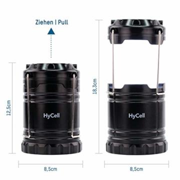 HyCell LED Campinglampe CL30 - Batteriebetriebene LED Campingleuchte - Handliche Leuchte mit blendfreier Ausleuchtung - Ideal für Festivals Camping Ausrüstung Zelten Lesen Garten oder Notfallleuchte - 4