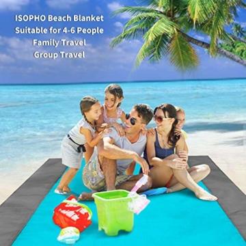 ISOPHO Picknickdecke 200 x 210 cm Stranddecke Wasserdicht, Strandmatte 4 Befestigung Ecken Stranddecke Sandfrei/Picknick für den Strand, Campen, Wandern und Ausflüge(Blau) - 2