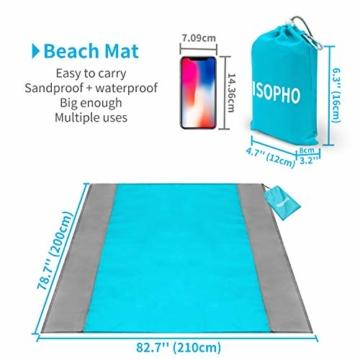 ISOPHO Picknickdecke 200 x 210 cm Stranddecke Wasserdicht, Strandmatte 4 Befestigung Ecken Stranddecke Sandfrei/Picknick für den Strand, Campen, Wandern und Ausflüge(Blau) - 3