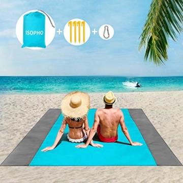 ISOPHO Picknickdecke 200 x 210 cm Stranddecke Wasserdicht, Strandmatte 4 Befestigung Ecken Stranddecke Sandfrei/Picknick für den Strand, Campen, Wandern und Ausflüge(Blau) - 1