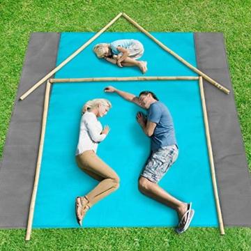 ISOPHO Picknickdecke 200 x 210 cm Stranddecke Wasserdicht, Strandmatte 4 Befestigung Ecken Stranddecke Sandfrei/Picknick für den Strand, Campen, Wandern und Ausflüge(Blau) - 5