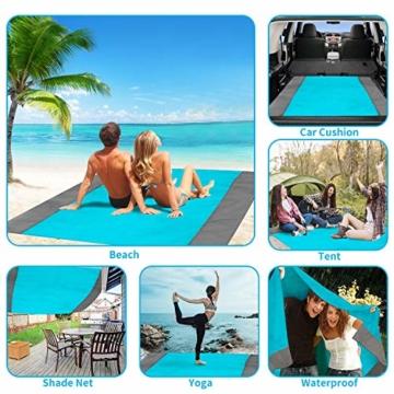 ISOPHO Picknickdecke 200 x 210 cm Stranddecke Wasserdicht, Strandmatte 4 Befestigung Ecken Stranddecke Sandfrei/Picknick für den Strand, Campen, Wandern und Ausflüge(Blau) - 6