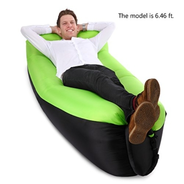 JSVER wasserdichtes aufblasbares Sofa, Luft Sofa,Luftmatratzen,Luft Couch, mit integriertem Kissen, tragbares aufblasbares Sofa, aufblasbares Outdoor-Sofa Fuer Camping, Park, Strand (Grün&Schwarz) - 2