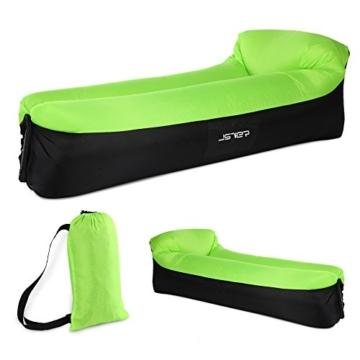 JSVER wasserdichtes aufblasbares Sofa, Luft Sofa,Luftmatratzen,Luft Couch, mit integriertem Kissen, tragbares aufblasbares Sofa, aufblasbares Outdoor-Sofa Fuer Camping, Park, Strand (Grün&Schwarz) - 1