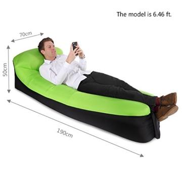 JSVER wasserdichtes aufblasbares Sofa, Luft Sofa,Luftmatratzen,Luft Couch, mit integriertem Kissen, tragbares aufblasbares Sofa, aufblasbares Outdoor-Sofa Fuer Camping, Park, Strand (Grün&Schwarz) - 5