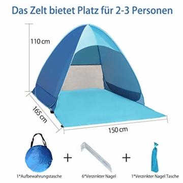 Karvipark Strandmuschel, Tragbar Extra Light Strandzelt, Sun Shelter für 2-3 Personen, Einschließlich Tragetasche und Zeltpflöcke, UV-Schutz, Beach Zelt für Familie, Strand, Garten, Camping (Blau) - 2