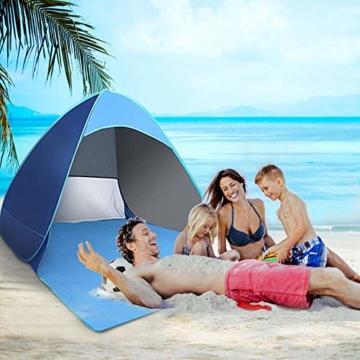 Karvipark Strandmuschel, Tragbar Extra Light Strandzelt, Sun Shelter für 2-3 Personen, Einschließlich Tragetasche und Zeltpflöcke, UV-Schutz, Beach Zelt für Familie, Strand, Garten, Camping (Blau) - 3