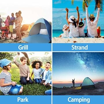 Karvipark Strandmuschel, Tragbar Extra Light Strandzelt, Sun Shelter für 2-3 Personen, Einschließlich Tragetasche und Zeltpflöcke, UV-Schutz, Beach Zelt für Familie, Strand, Garten, Camping (Blau) - 5