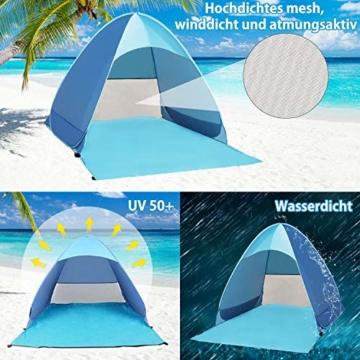 Karvipark Strandmuschel, Tragbar Extra Light Strandzelt, Sun Shelter für 2-3 Personen, Einschließlich Tragetasche und Zeltpflöcke, UV-Schutz, Beach Zelt für Familie, Strand, Garten, Camping (Blau) - 6