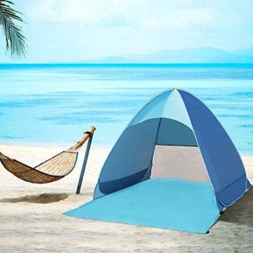 Karvipark Strandmuschel, Tragbar Extra Light Strandzelt, Sun Shelter für 2-3 Personen, Einschließlich Tragetasche und Zeltpflöcke, UV-Schutz, Beach Zelt für Familie, Strand, Garten, Camping (Blau) - 7