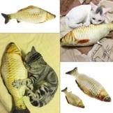 KatzenSpielzeug,Dairyshop Lustige Gras Karpfen Haustier Katze Kätzchen Fisch Form Interaktive Katzen Kauen Spielzeug, PP Baumwolle + Plüsch + Katze Minze, 7.88inch - 1