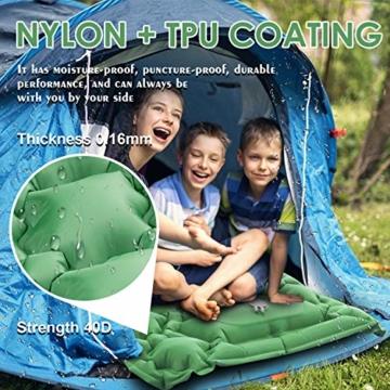 KEPLUG Isomatte selbstaufblasend Camping, luftmatratze Camping mit Fußpresse Ultraleicht, aufblasbare matratze für Camping, Strand, Reise, Outdoor, Wandern 195x70x6cm (Grün) - 2