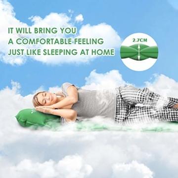 KEPLUG Isomatte selbstaufblasend Camping, luftmatratze Camping mit Fußpresse Ultraleicht, aufblasbare matratze für Camping, Strand, Reise, Outdoor, Wandern 195x70x6cm (Grün) - 3