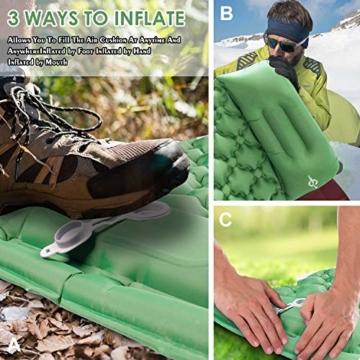 KEPLUG Isomatte selbstaufblasend Camping, luftmatratze Camping mit Fußpresse Ultraleicht, aufblasbare matratze für Camping, Strand, Reise, Outdoor, Wandern 195x70x6cm (Grün) - 4