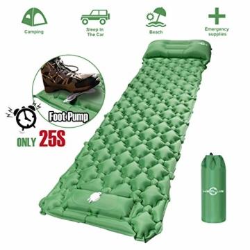 KEPLUG Isomatte selbstaufblasend Camping, luftmatratze Camping mit Fußpresse Ultraleicht, aufblasbare matratze für Camping, Strand, Reise, Outdoor, Wandern 195x70x6cm (Grün) - 1