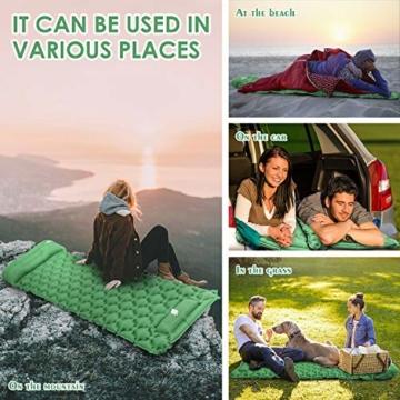 KEPLUG Isomatte selbstaufblasend Camping, luftmatratze Camping mit Fußpresse Ultraleicht, aufblasbare matratze für Camping, Strand, Reise, Outdoor, Wandern 195x70x6cm (Grün) - 6